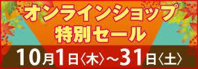 オンラインショップ特別セール 10月の1ヶ月間、特別開催!!この期間だけのお得がいっぱい!!
