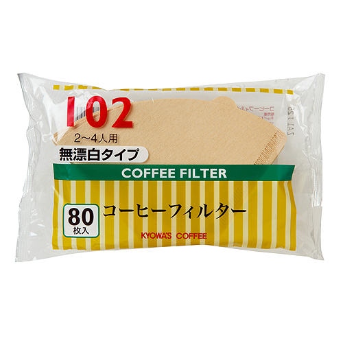 コーヒーフィルター102 80枚入り 無漂白タイプ