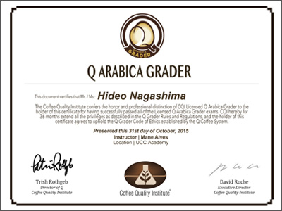 SCAA / CQI認定Qグレーダー 証明書